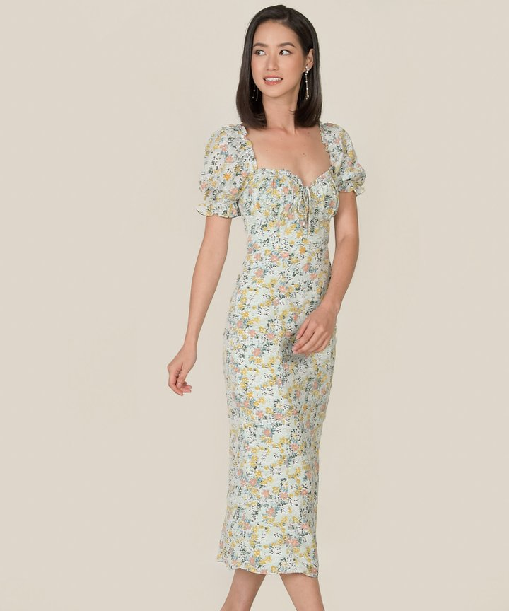 Winslet Floral Gathered Midi Dress - Pale Seafoam (Backorder)