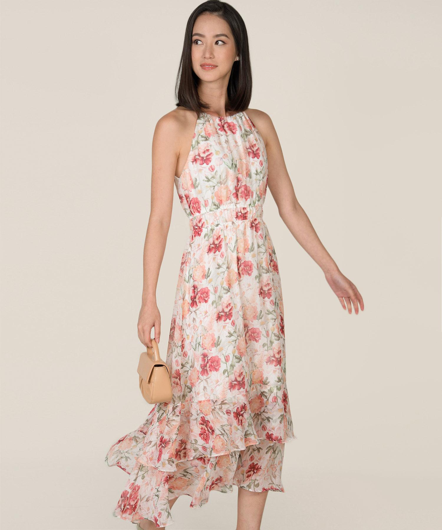 Darja floral halter maxi dress in white