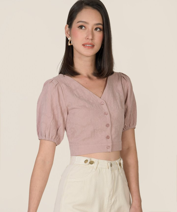Amadine Textured Cropped Top - Dust Pink