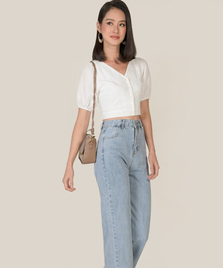Amadine Textured Cropped Top - White