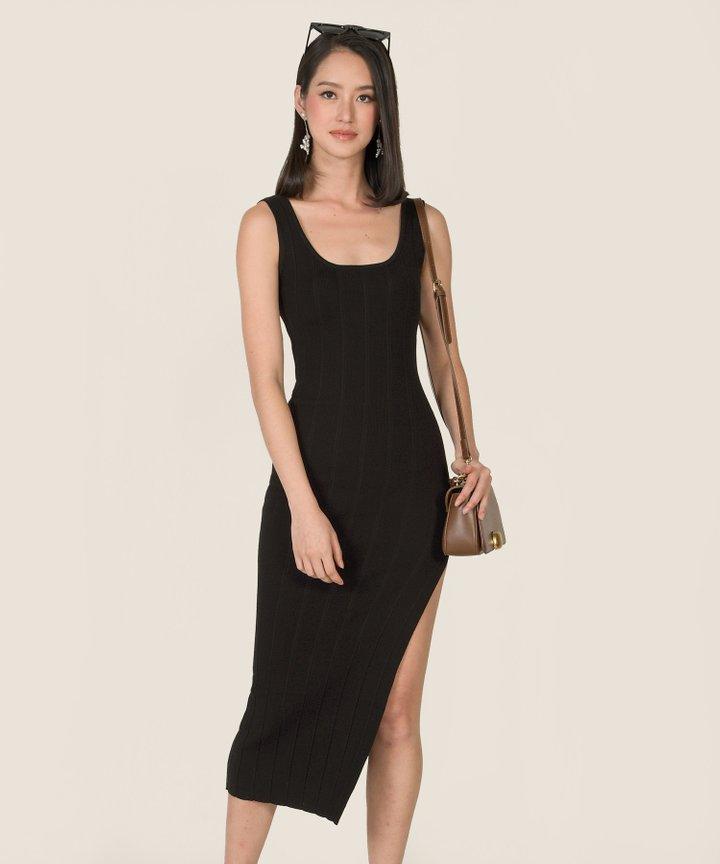 Belarus Knit Bodycon Midi Dress - Black