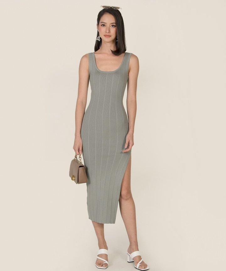 Belarus Knit Bodycon Midi Dress - Slate