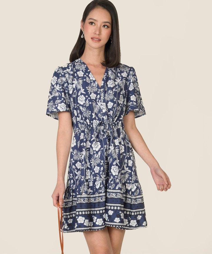 Bleu Floral Motif Dress (Backorder)