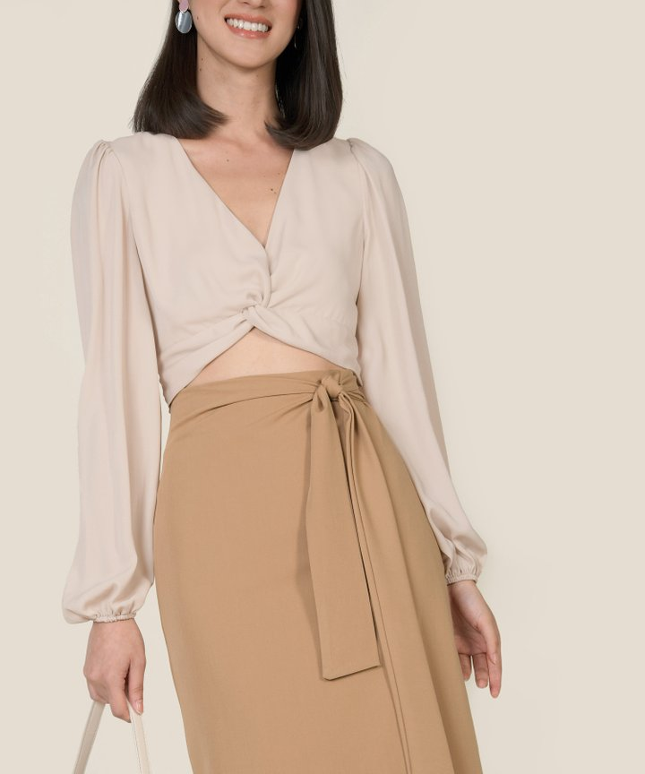 Callalily Knot Cropped Blouse - Sand