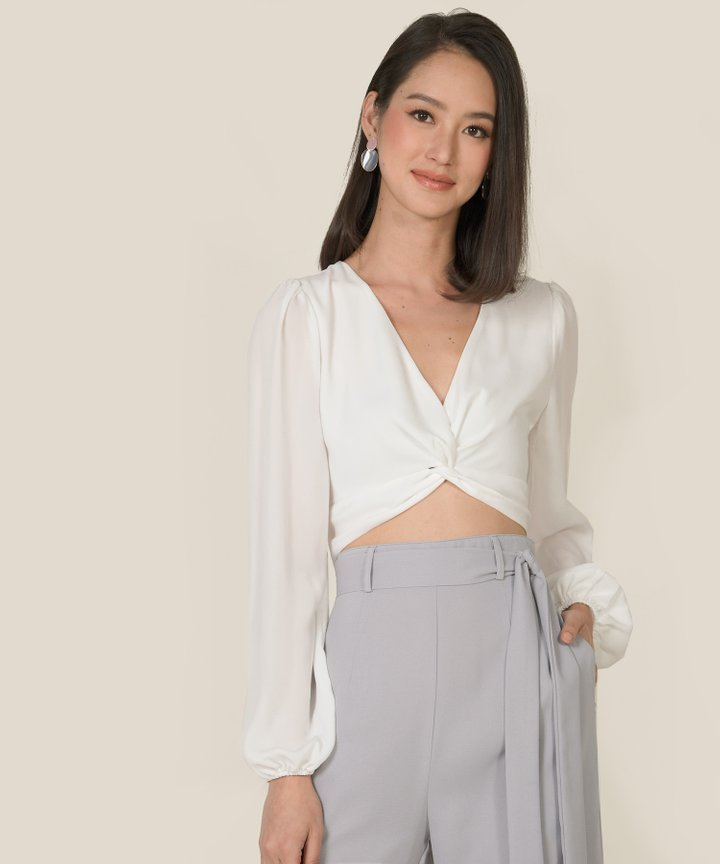 Callalily Knot Cropped Blouse - White