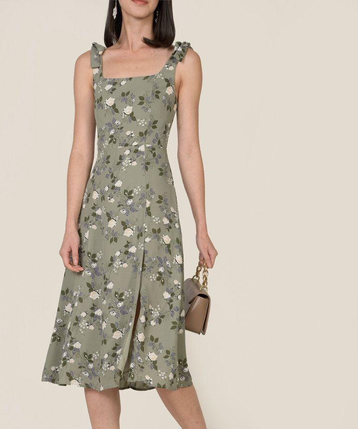 Carolena Floral Slit Midi Dress (Restock)
