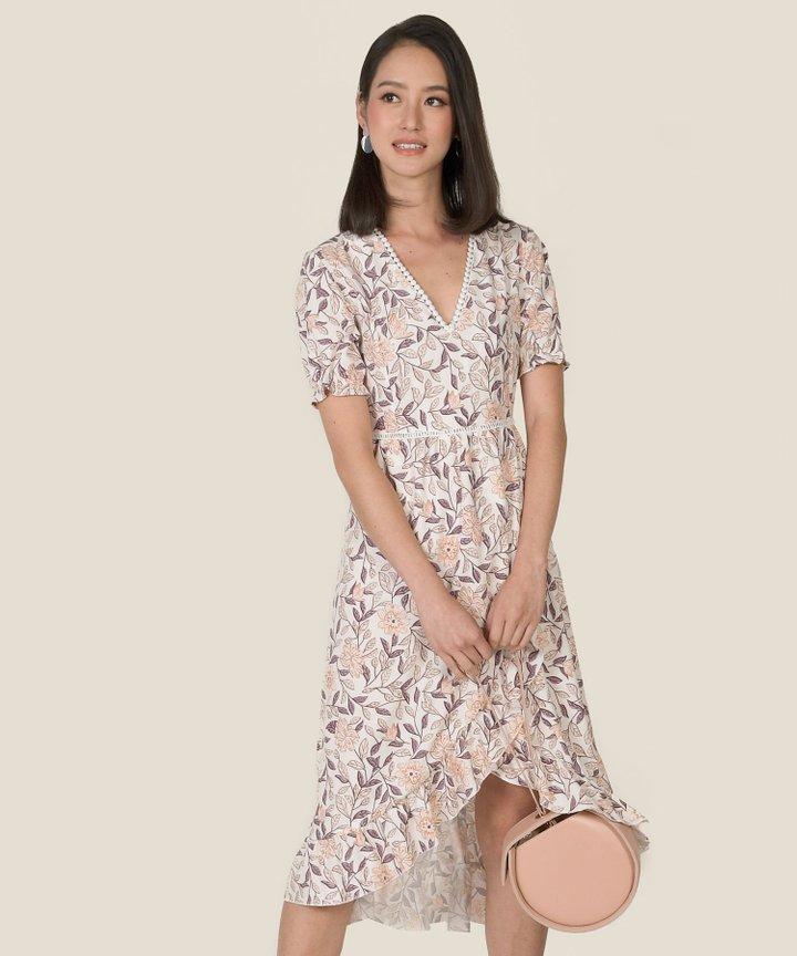 Chihuly Floral Asymmetrical Midi Dress