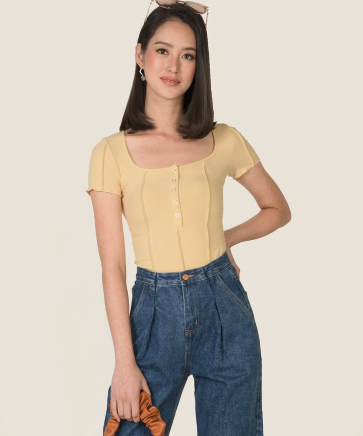 Cider Knit Button Cropped Top - Mellow Yellow