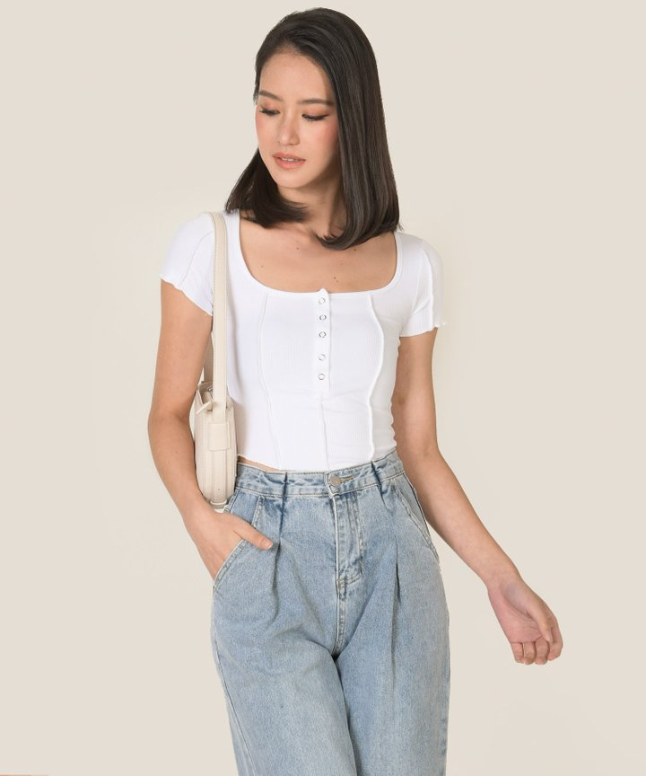 Cider Knit Button Cropped Top - White