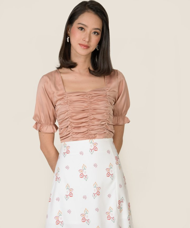 Gwyneth Ruched Cropped Top - Rose Blush