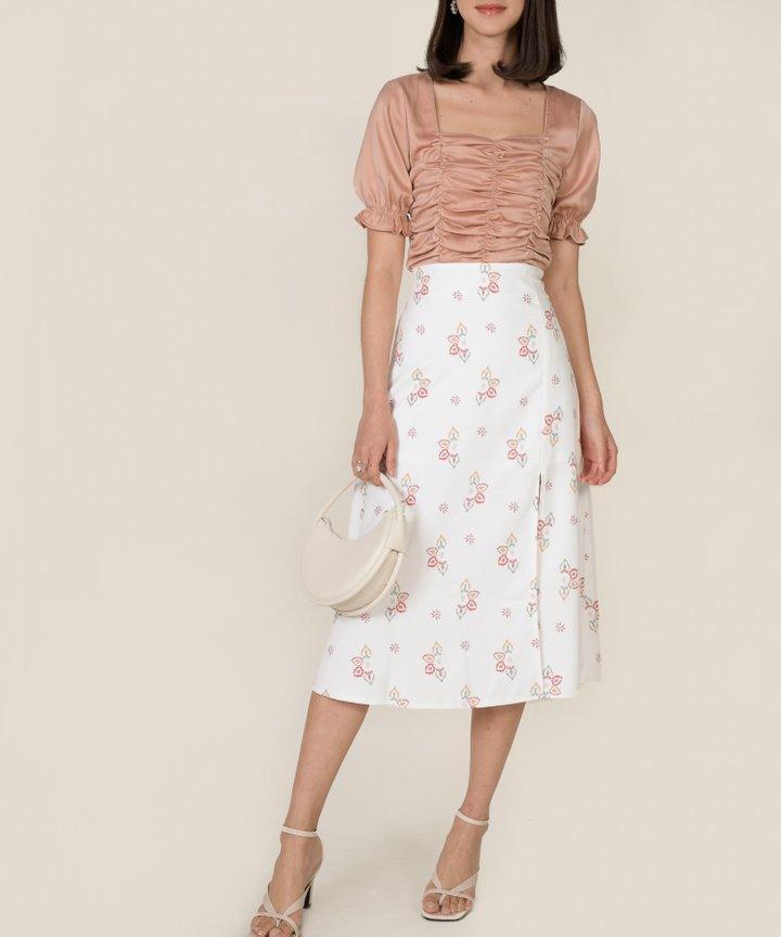 Leighton Slit Midi Skirt - White
