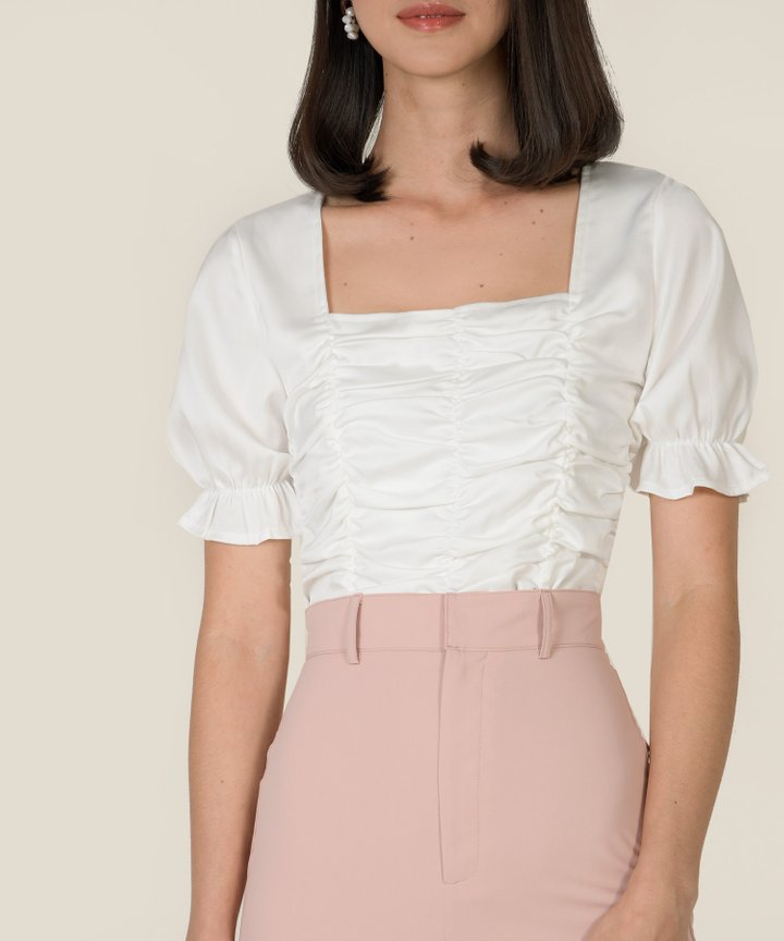 Gwyneth Ruched Cropped Top - White
