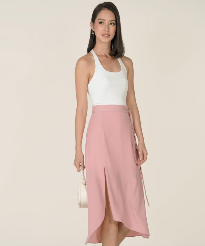 Heidi Asymmetric Midi Skirt - Blush Pink