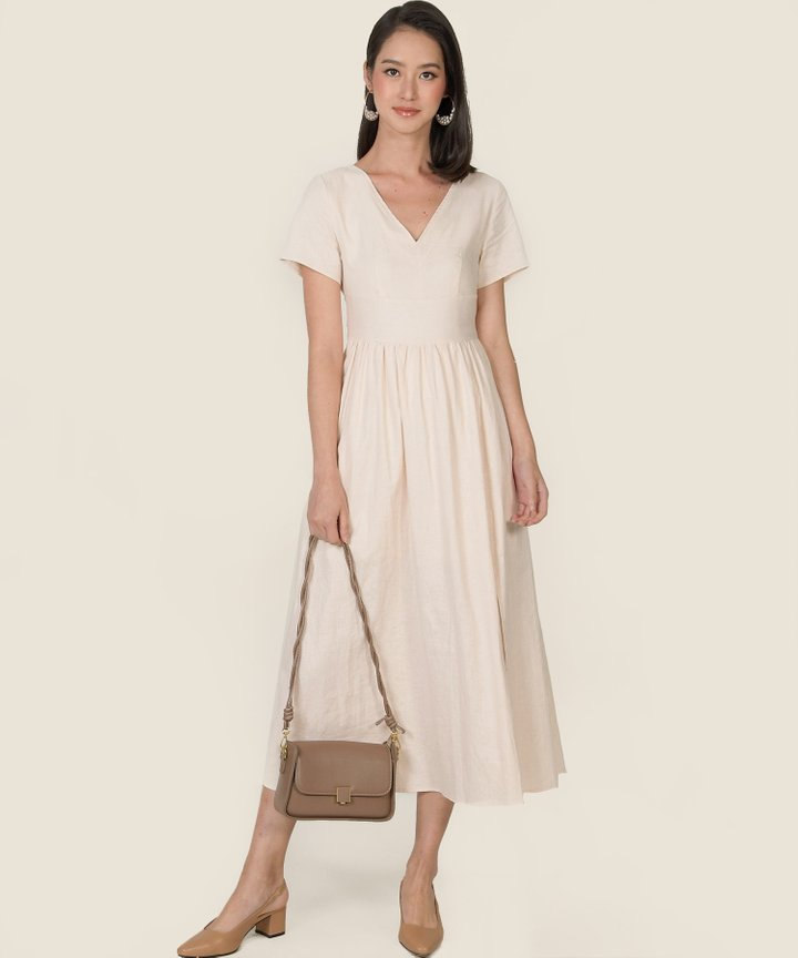 Hera Gathered Midi Dress - Ecru