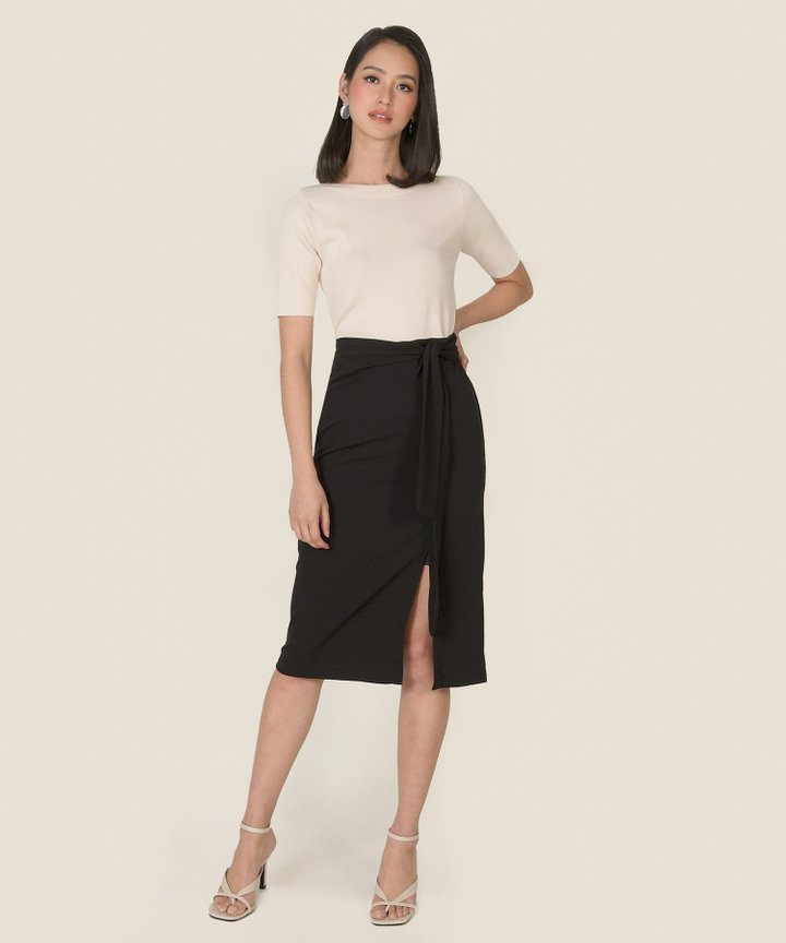 Hilaria Slit Midi Skirt - Black