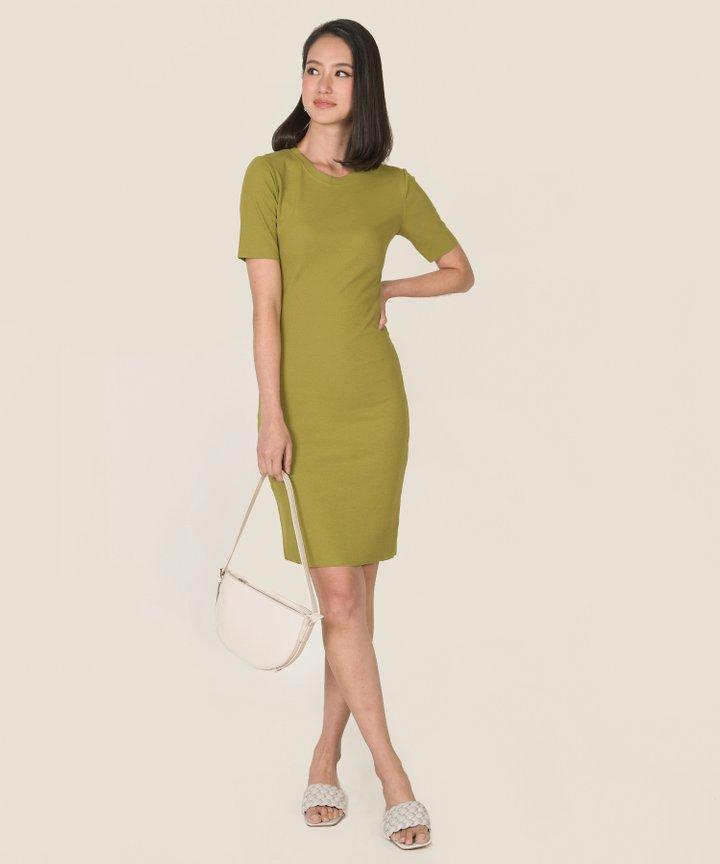 Issey Knit Midi Dress - Chartreuse