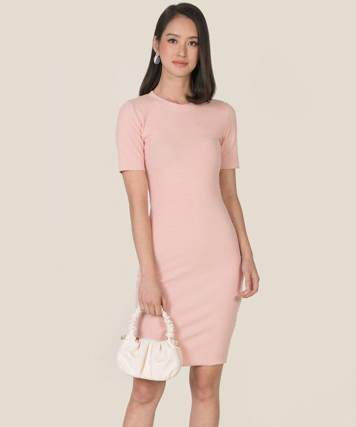 Issey Knit Midi Dress - Dust Pink