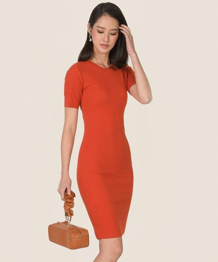 Issey Knit Midi Dress - Vermillion