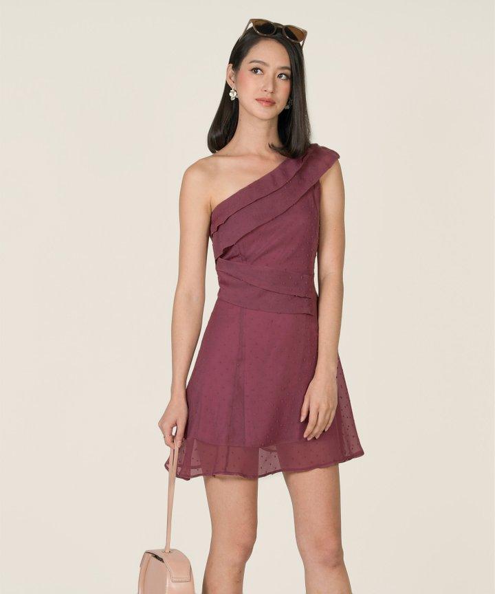 Luminous Swiss Dot Toga Dress - Mulberry