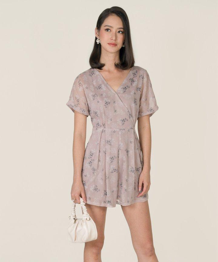 Moonlight Floral Kimono Playsuit - Dust Lavender (Restock)