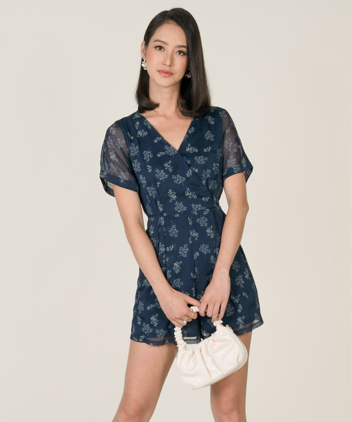 Moonlight Floral Kimono Playsuit - Navy