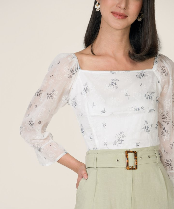 Moonlight Floral Smocked Top - White