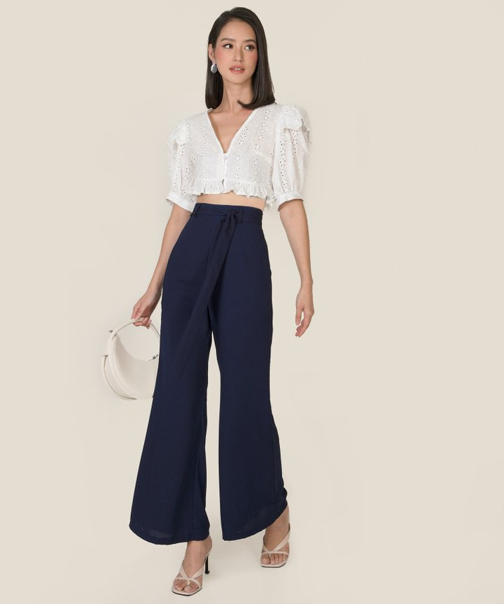 Siobhan Belted Wide Leg Pants - Midnight Blue