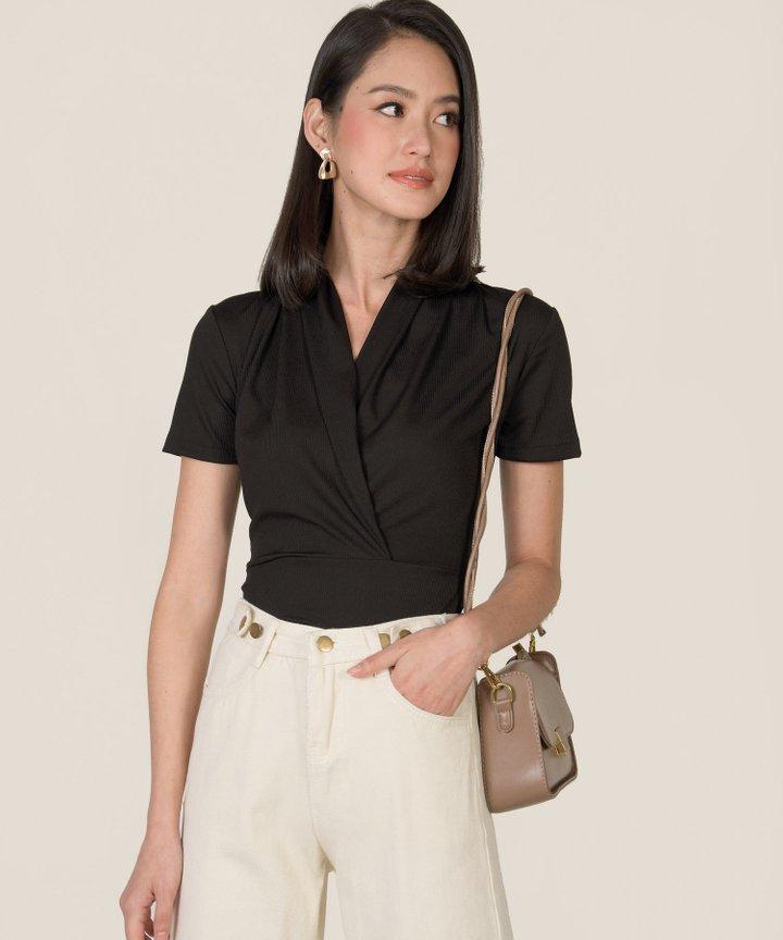 Sloane Knit Overlay Bodysuit - Black