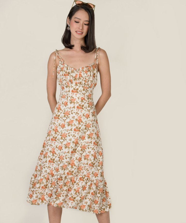 Smitten Ruched Floral Midi Dress