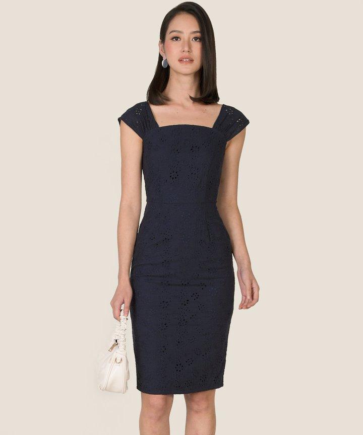Zaha Eyelet Midi Dress - Midnight Blue