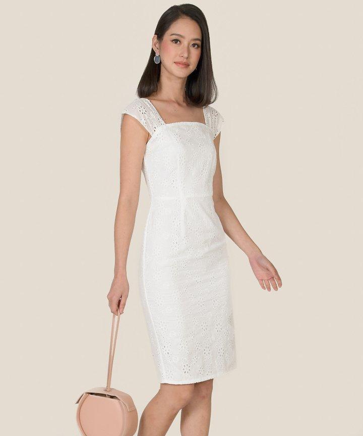 Zaha Eyelet Midi Dress - White