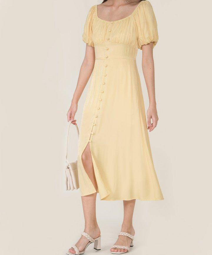 Antilia Ruched Button Down Midi Dress - Daffodil