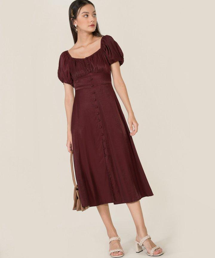 Antilia Ruched Button Down Midi Dress - Mahogany