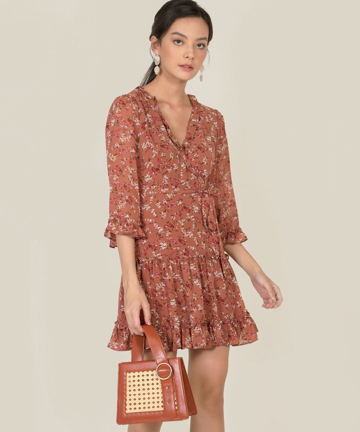 Avalon Floral Ruffle Dress - Coral Rose
