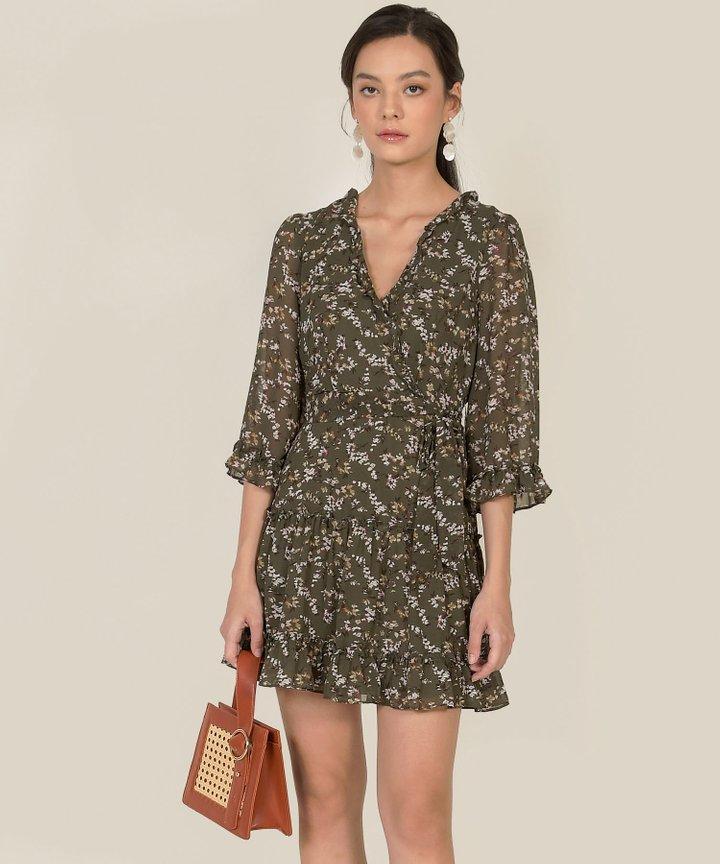 Avalon Floral Ruffle Dress - Olive