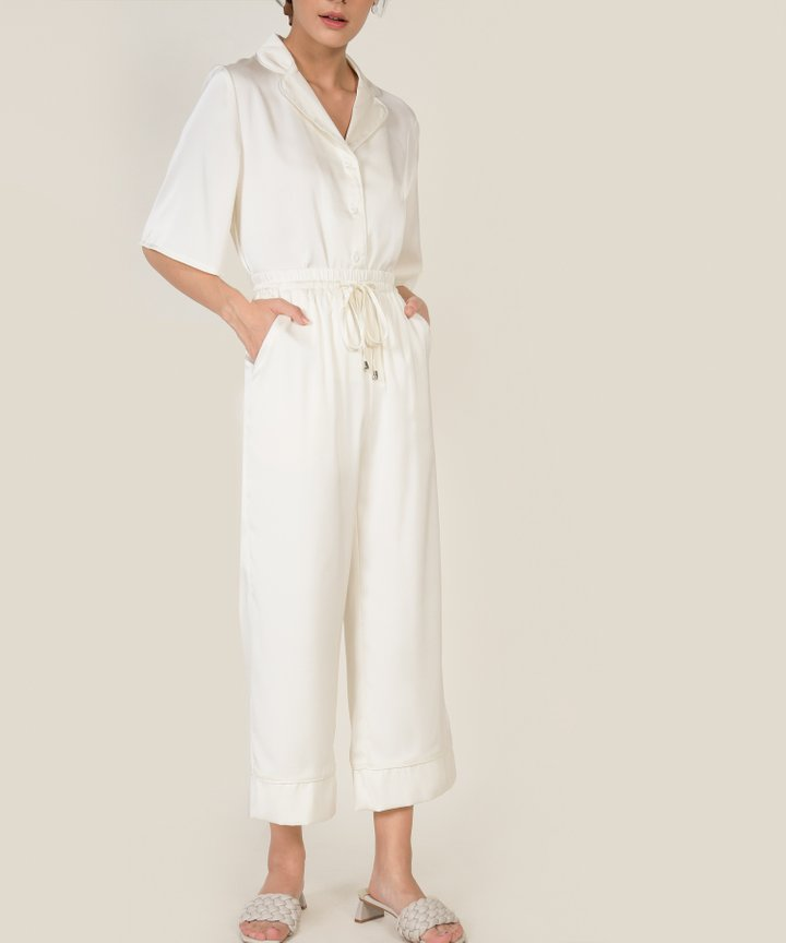 Bellevue Satin Cropped Pants - Pearl White