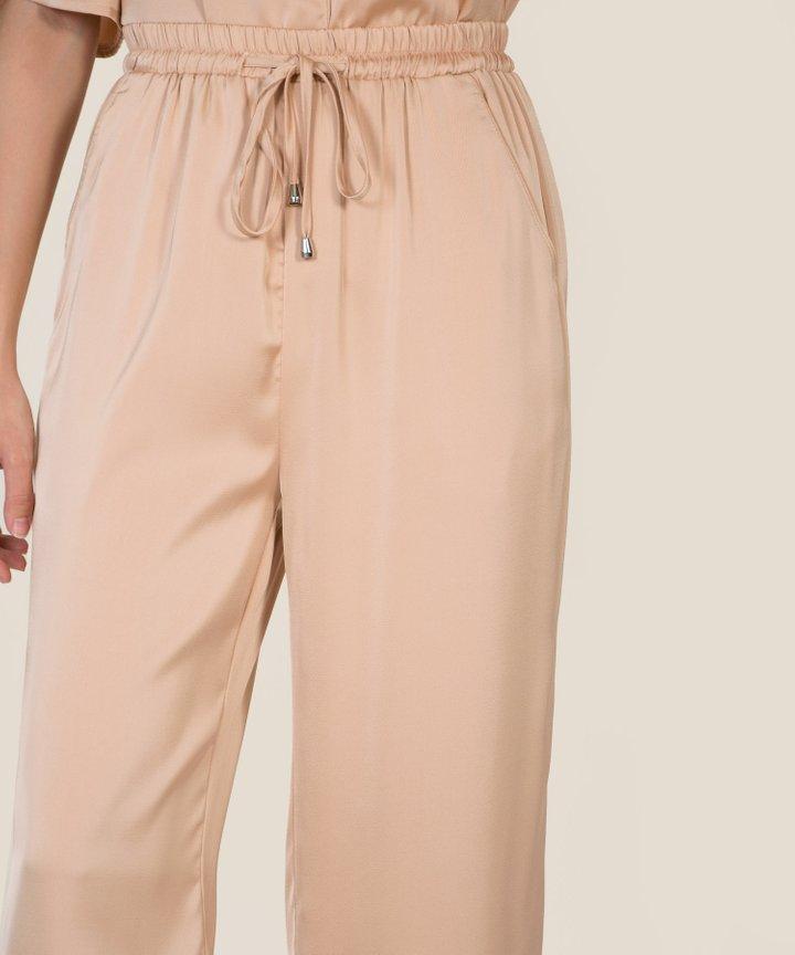 Bellevue Satin Cropped Pants - Rose Gold