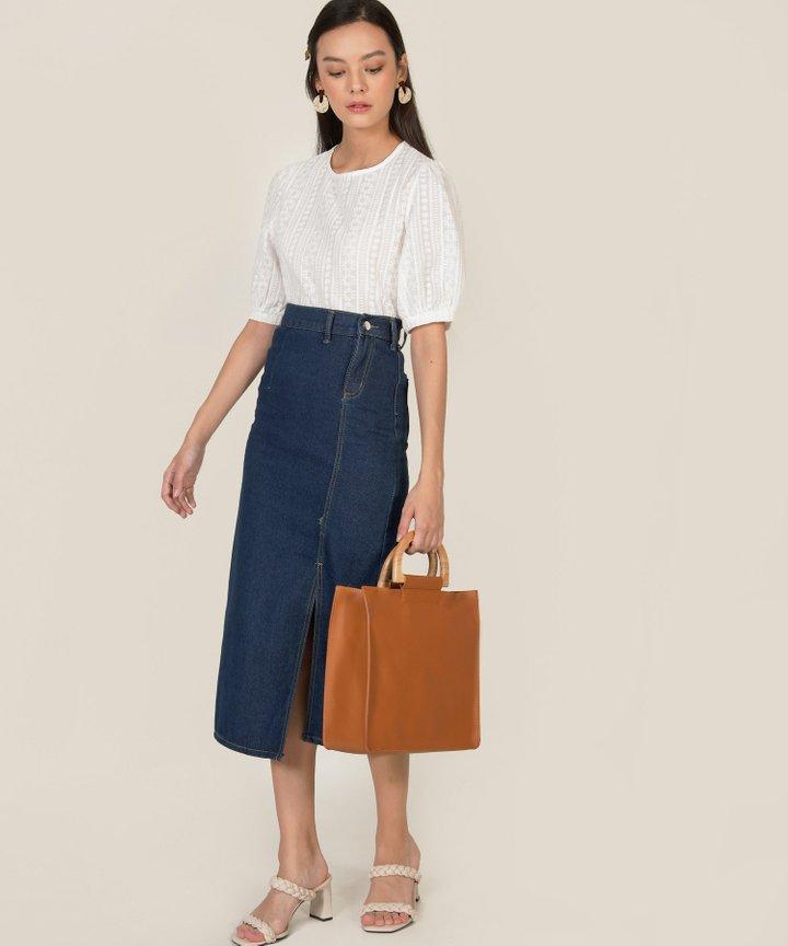 Callum Bodycon Denim Midi Skirt
