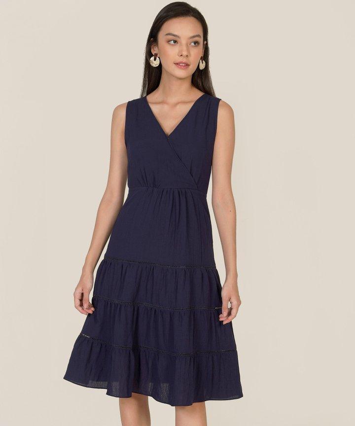 Clarisse Linen Tiered Midi Dress - Navy