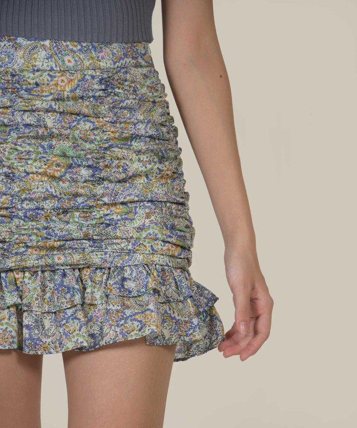 Coco Printed Ruched Mini Skirt