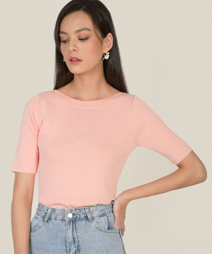 Dylana Boat Neck Knit Top - Peach Pink
