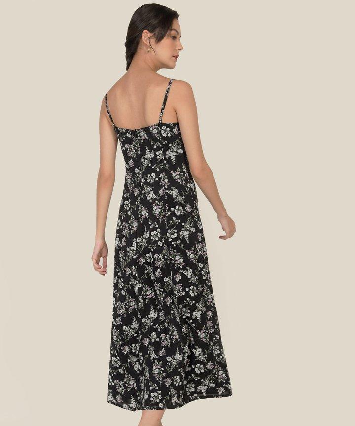 Elliot Floral Maxi Dress - Black
