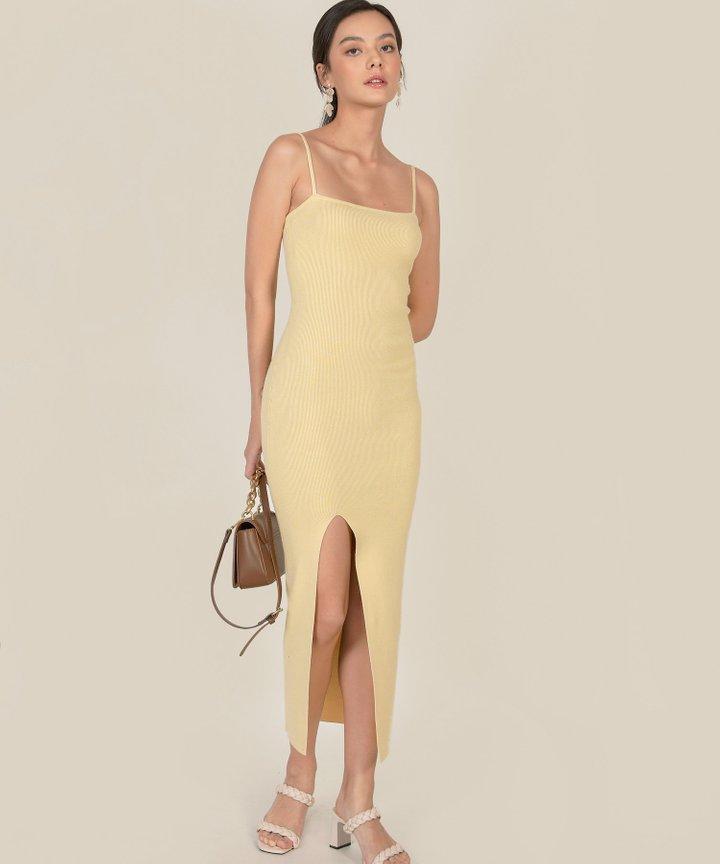 Emele Ribbed Knit Bodycon Midi Dress - Mellow Yellow