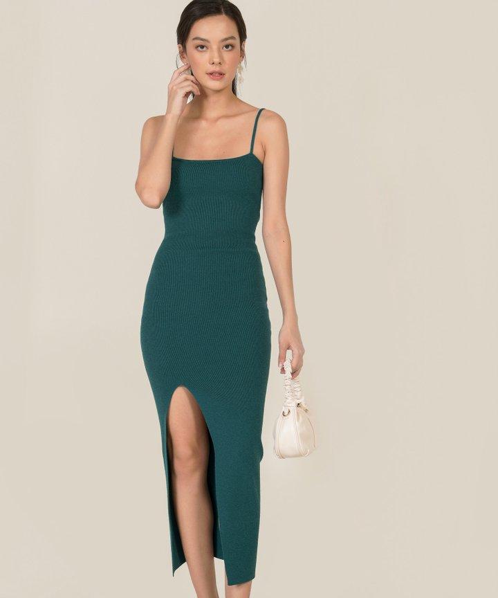 Emele Ribbed Knit Bodycon Midi Dress - Teal Green