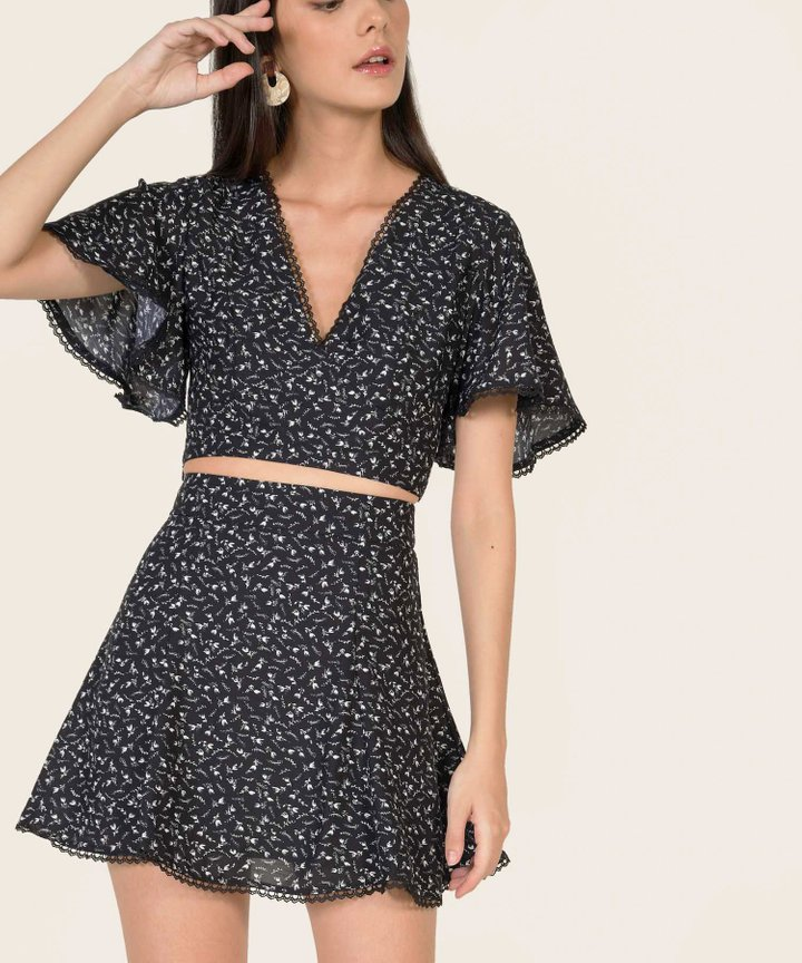 Esmerie Floral Co-ord - Midnight Blue