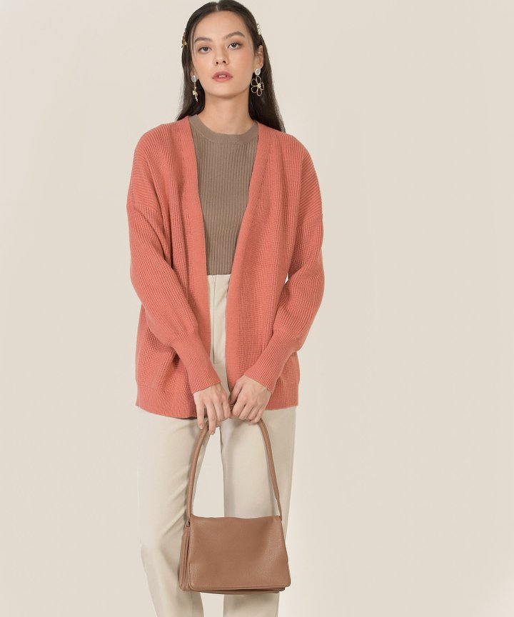 Everett Knit Oversized Cardigan - Coral Clay