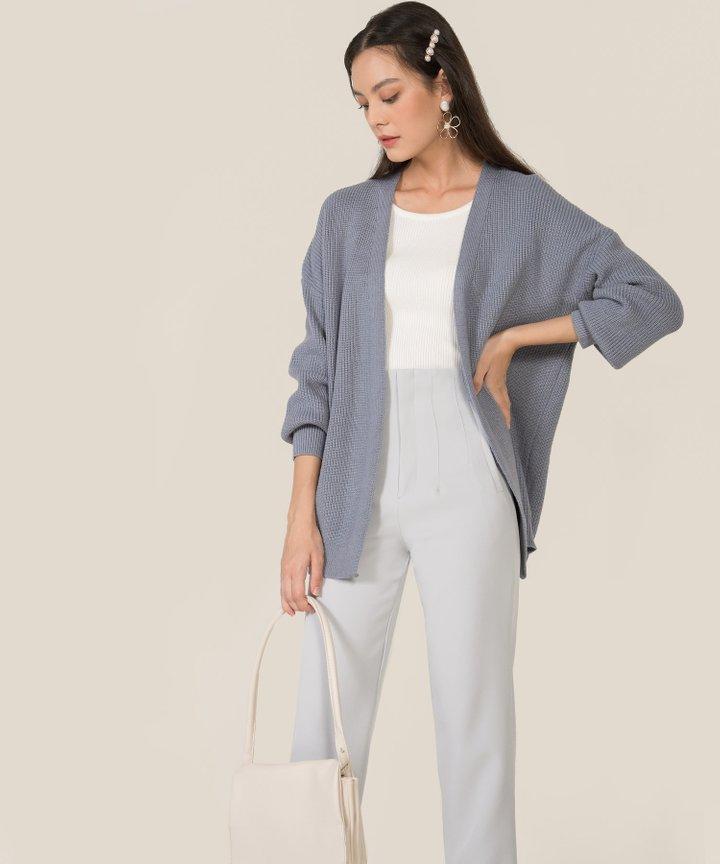 Everett Knit Oversized Cardigan - Dust Blue