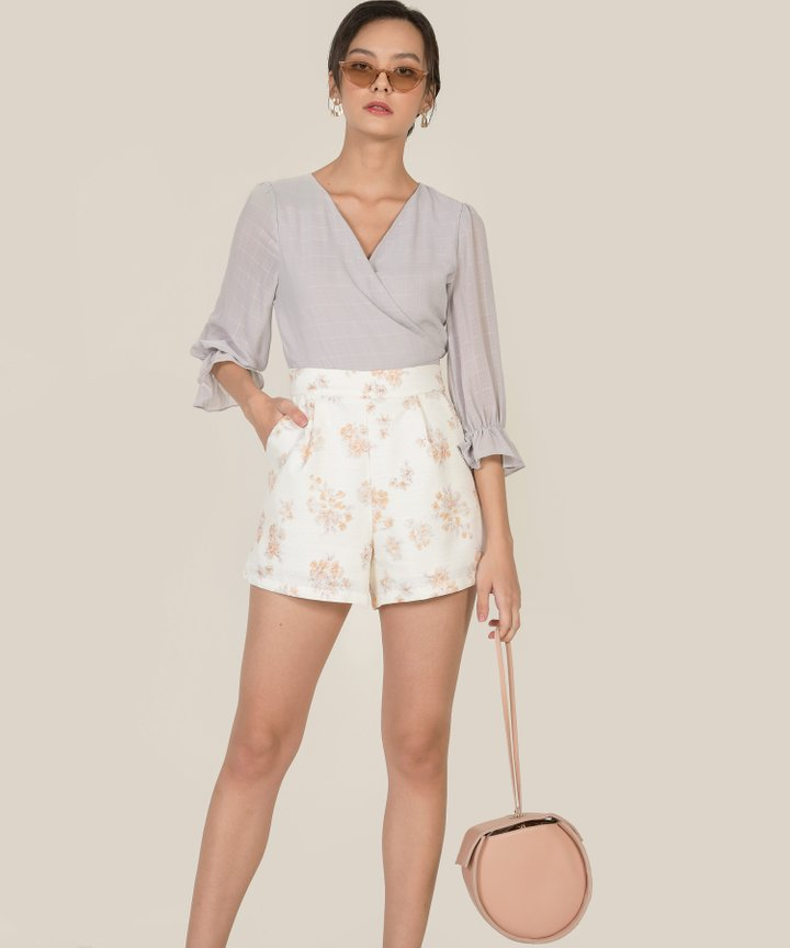Fontaine Textured Wrap Blouse - Dove Grey