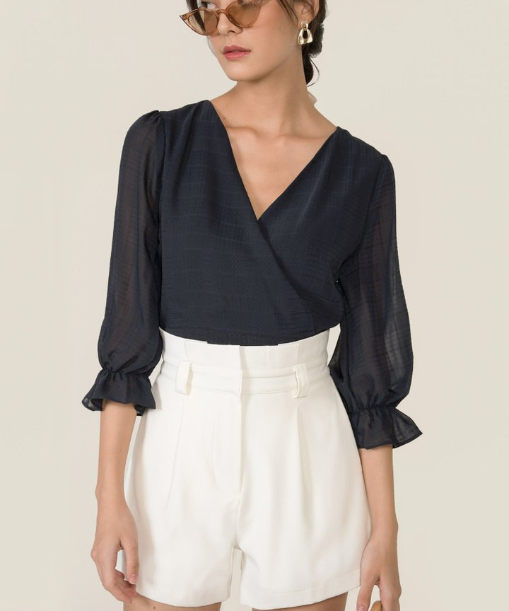Fontaine Textured Wrap Blouse - Navy