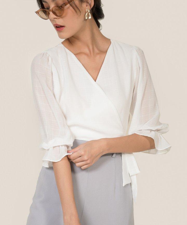 Fontaine Textured Wrap Blouse - White